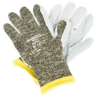Power-Cor Max Camo Aramid / Steel / Cotton Cut Resistant Gloves with Split Leather Palm Coating - Large - Pair
