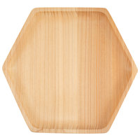 Bambu 170120 8 1/2 inch Hexagon Cedar Wood Serving Tray