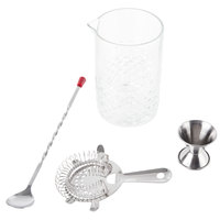 4-Piece 25.25 oz. Cocktail Stirring Glass Kit with Silver Accessories