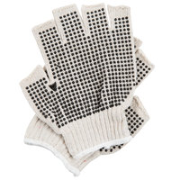 Natural Polyester / Cotton Fingerless Gloves with Two-Sided Black PVC Coating - Large - Pair - 12/Pack