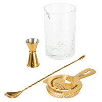 4-Piece 25.25 oz. Cocktail Stirring Glass Kit with Gold Accessories