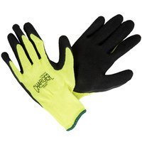 Charger Hi-Vis Green Polyester / Cotton Gloves with Black Foam Latex Palm Coating - Large - Pair   - 12/Pack