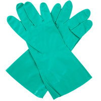 Standard 15-Mil Green Embossed Unsupported Nitrile Gloves - Large - Pair - 12/Pack