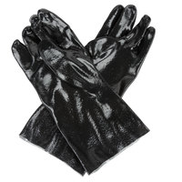 Black Rough Supported 14 inch PVC Gloves with Interlock Lining - Large - Pair   - 12/Pack
