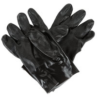 Black Etched Supported 10 inch PVC Gloves with Interlock Lining - Large - Pair - 12/Pack