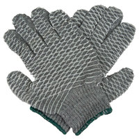 Gray Polyester / Nylon Grip Gloves with Two-Sided Criss-Cross PVC Coating - Medium - Pair - 12/Pack
