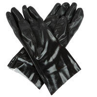 Black Sandpaper Supported 14 inch PVC Gloves with Interlock Lining - Large - Pair   - 12/Pack