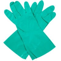 Standard 15-Mil Green Embossed Unsupported Nitrile Gloves - Extra Large - Pair - 12/Pack
