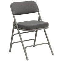 Flash Furniture 2-HA-MC320AF-GRY-GG Gray Metal Folding Chair with 2 1/2 inch Padded Fabric Seat - 2/Pack
