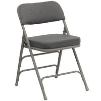 Flash Furniture HA-MC320AF-GRY-GG Gray Metal Folding Chair with 2 1/2 inch Padded Fabric Seat