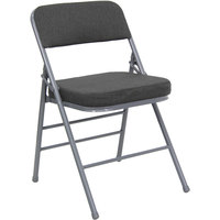 Gray Metal Folding Chair with 2 1/2 inch Padded Fabric Seat