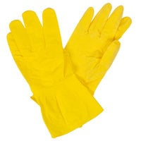 Yellow Embossed Unsupported Latex Gloves with Cotton Flock Lining - Large - Pair - 12/Pack