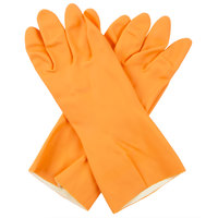 Premium 28-Mil Orange Embossed Unsupported Neoprene / Latex Gloves with Cotton Flock Lining - Large - Pair - 12/Pack