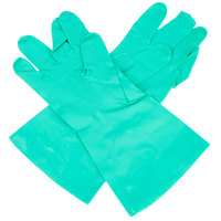 Standard 11-Mil Green Embossed Unsupported Nitrile Gloves - Medium - Pair - 12/Pack