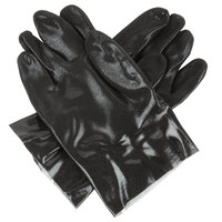 Black Sandpaper Supported 10 inch PVC Gloves with Interlock Lining - Large - Pair   - 12/Pack
