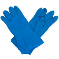 Standard 15-Mil Blue Embossed Unsupported Latex Gloves - Medium - Pair - 12/Pack