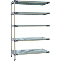 Metro 5AX557G4 MetroMax 4 Grid 5-Shelf Stationary Shelving Add On Unit - 24 inch x 48 inch x 74 inch