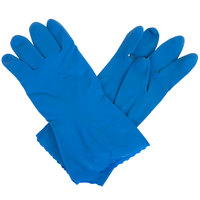 Standard 15-Mil Blue Embossed Unsupported Latex Gloves - Large - Pair - 12/Pack