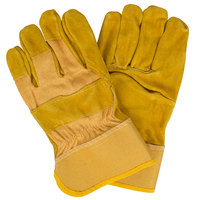 Men's Yellow Canvas Work Gloves with Russet Premium Shoulder Split Leather Palm Coating and 2 1/2 inch Rubber Cuffs - Large - Pair