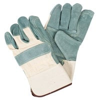 White Canvas Work Gloves with Premium Side Split Leather Palm Coating and 2 1/2 inch Rubber Cuffs - Large - Pair