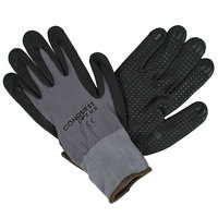 Conquest Plus Gray Nylon / Spandex Gloves with Black Foam Nitrile / Polyurethane Palm Coating and Nitrile Dots - Large - Pair   - 12/Pack