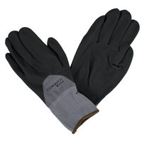 Conquest Xtra Gray Nylon / Spandex Gloves with Black Foam Nitrile / Polyurethane Palm Coating - Large - Pair - 12/Pack