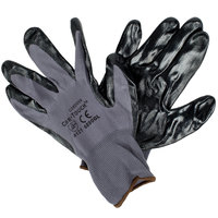 Cor-Touch Gray Nylon Gloves with Black Flat Nitrile Palm Coating - Large - Pair   - 12/Pack