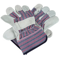 Striped Canvas Work Gloves with Shoulder Split Leather Palm Coating and 2 1/2 inch Rubber Cuffs - Large - Pair