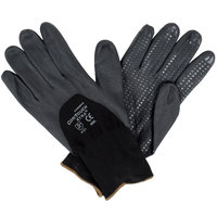 Cor-Touch Xtra Black Nylon / Spandex Gloves with Black Foam Nitrile / Polyurethane Palm Coating and Nitrile Dots - Large - Pair   - 12/Pack