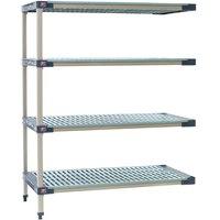 Metro AX346G4 MetroMax 4 Grid 4-Shelf Stationary Shelving Add On Unit - 18 inch x 42 inch x 63 inch