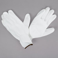 White Nylon Gloves with White Polyurethane Palm Coating - Large - Pair - 12/Pack