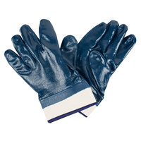 Smooth Supported Nitrile Gloves with Jersey Lining and 2 1/2 inch Safety Cuffs - Large - Pair   - 12/Pack