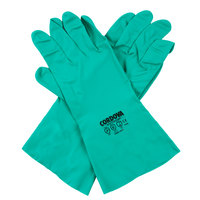 Premium 15-Mil Green Embossed Unsupported Nitrile Gloves with Cotton Flock Lining - Extra Large - Pair - 12/Pack