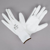 White Polyester Gloves with White Polyurethane Palm Coating - Extra Large - Pair - 12/Pack