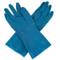 Premium 18-Mil Blue Embossed Unsupported Latex Gloves - Medium - Pair - 12/Pack