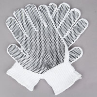 Medium Weight White Polyester / Cotton Work Gloves with Black PVC Dotted Palm Coating - Large - Pair - 12/Pack