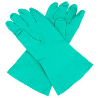 Premium 15-Mil Green Embossed Unsupported Nitrile Gloves - Large - Pair - 12/Pack
