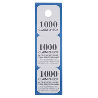 Choice Blue 3 Part Paper Coat Room Check Tickets - 1000/Box