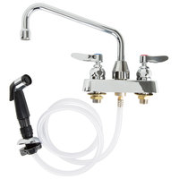 T&S B-1171 Deck Mounted Workboard Faucet with Self-Closing Spray Valve and 4 inch Centers - 8 inch Swing Nozzle