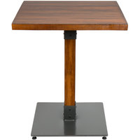 Lancaster Table & Seating 24 inch Square Antique Walnut Solid Wood Live Edge Dining Height Table