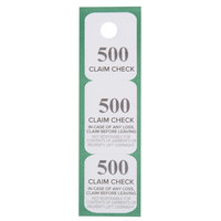 Choice Green 3 Part Paper Coat Room Check Tickets - 500/Box