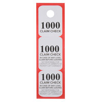 Choice Red 3 Part Paper Coat Room Check Tickets - 1000/Box