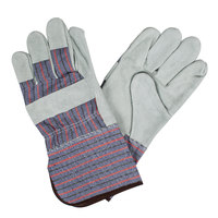Men's Striped Canvas Work Gloves with Shoulder Split Leather Palm Coating and 4 1/2 inch Starched Cuffs - Large - Pair