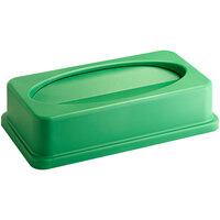 Lavex Janitorial Green Slim Rectangular Trash Can Drop Shot Lid
