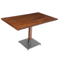 Lancaster Table & Seating 30 inch x 48 inch Antique Walnut Solid Wood Live Edge Dining Height Table