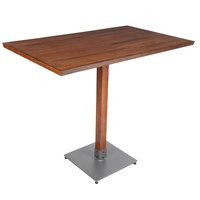 Lancaster Table & Seating 30 inch x 48 inch Antique Walnut Solid Wood Live Edge Bar Height Table