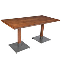 Lancaster Table & Seating 30 inch x 60 inch Antique Walnut Solid Wood Live Edge Dining Height Table