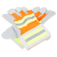 Hi-Vis Orange / Lime Work Gloves with Select Shoulder Split Leather Palm Coating and 2 1/2 inch Rubber Cuffs - Large - Pair