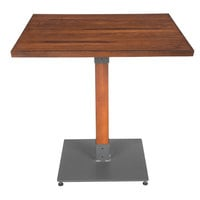 Lancaster Table & Seating 30 inch Square Antique Walnut Solid Wood Live Edge Dining Height Table