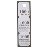 Choice Black 3 Part Paper Coat Room Check Tickets - 1000/Box